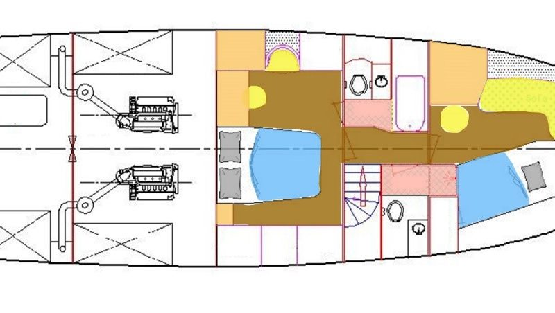 Layout: Lower Deck Staterooms and Heads