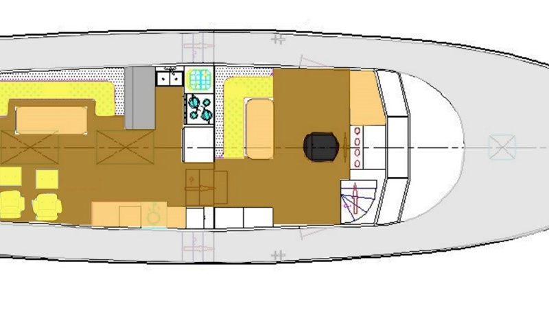 Layout: Main Deck – Saloon, Galley, and Raised Pilothouse